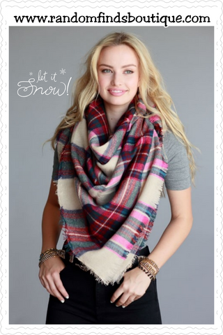 Multi Color Plaid Oversized Frayed Square Blanket Scarf