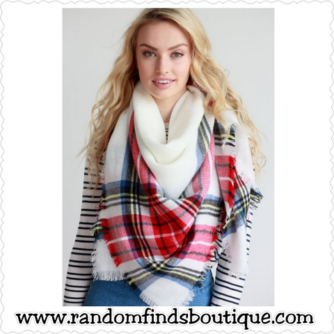 White pink plaid multicolor scarf