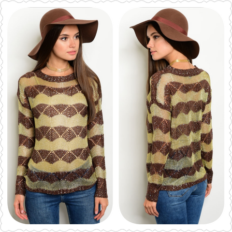 BROWN GOLD WITH SEQUINS TOP SWEATER