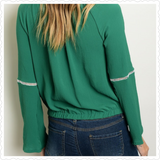 Long bell sleeve trim detail yolk front green peasant blouse