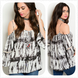 CHARCOAL WHITE COLD SHOULDER TIE DYE TOP