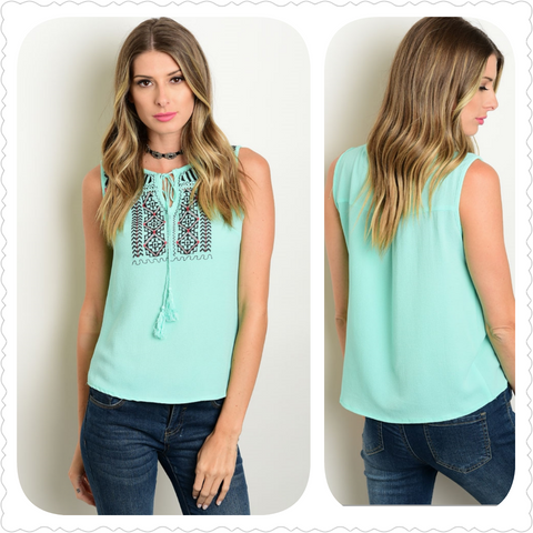 Mint Black Embroidery Top with Tassel