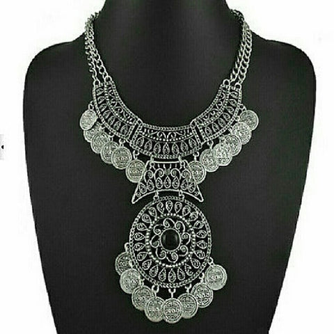 Boho Antalya Gypsy Double Chain Silver Coin Statement Necklace - Random Finds Boutique