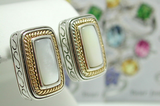 18k White & Yellow Gold over High End Jewelry Brass Genuine Mother of Pearl Earrings - Random Finds Boutique