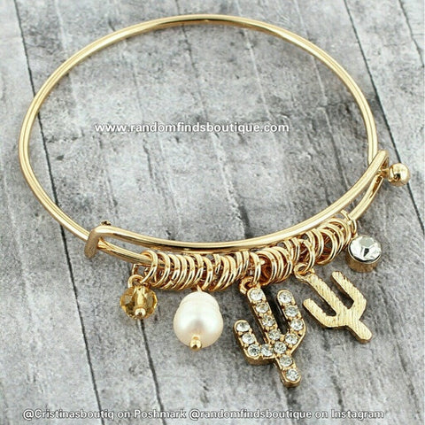 GOLDTONE AND CRYSTAL CACTUS CHARM BANGLE