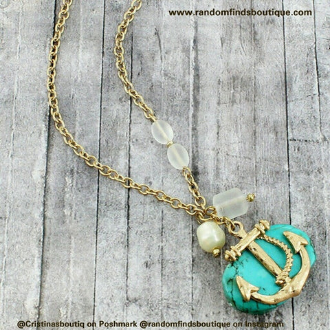GOLDTONE ANCHOR TURQUOISE STONE PENDANT NECKLACE