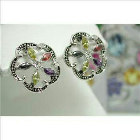 18k white gold over brass Multicolor Stone Earrings - Random Finds Boutique