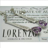 ColoreSG by LORENZO 925 Sterling Silver & 18k White Gold, White Sapphire & GENUINE Amethyst Earrings - Random Finds Boutique