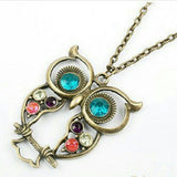 Rhinestone Owl Pendant Long Chain Vintage Necklace - Random Finds Boutique