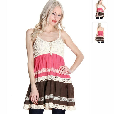 Coral Cream & Brown Lace Crochet Upper Tank - Random Finds Boutique