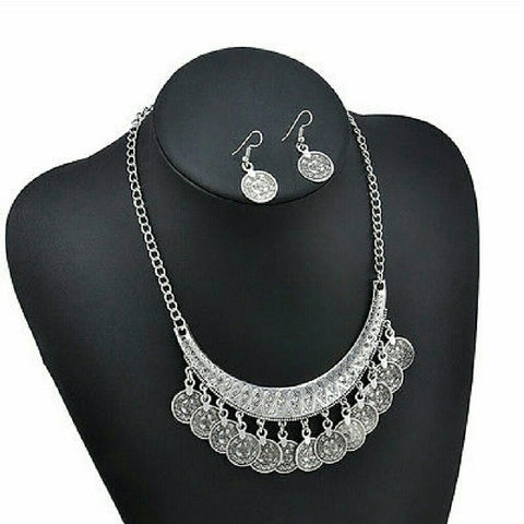 Boho Gypsy coin statement necklace and earrings Set