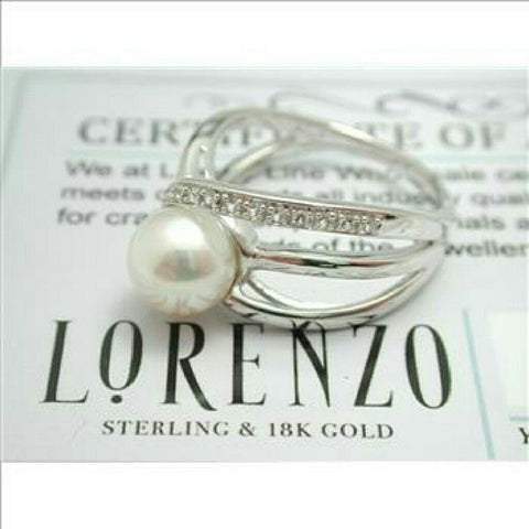 Authentic ColoreSG by LORENZO 925 Sterling Silver & 14k White Gold Pearl & White Sapphire Ring