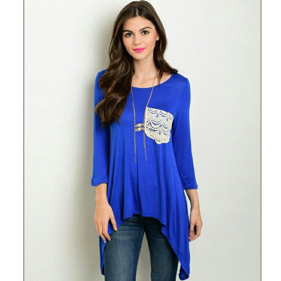 Royal Blue top tunic with lace pocket