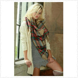 Multi Color Plaid Oversized Frayed Blanket Scarf