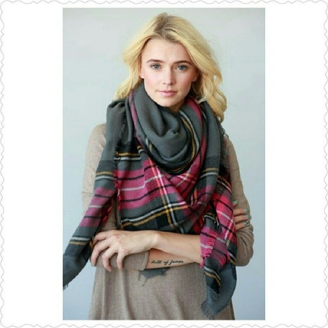 Two Layered Woven Plaid Frayed Oversized Scarf