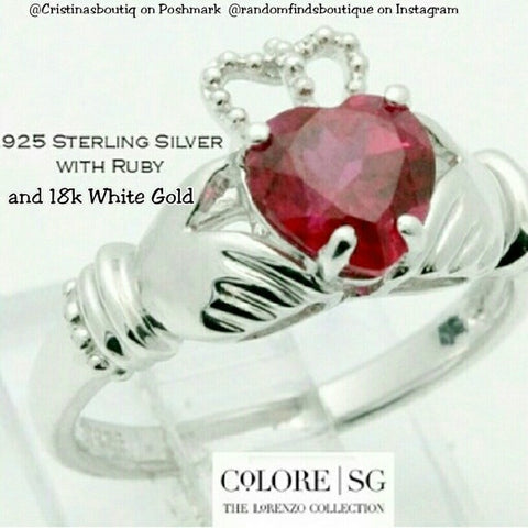 925 Sterling Silver & Ruby Designer Authentic ColoreSG by LORENZO Ring
