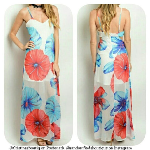 Juniors Ivory blue red flowers floral maxi dress