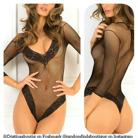 Black fishnet bodystocking bodysuit lingerie