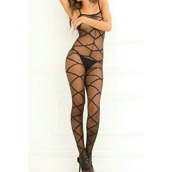 Black strapped up sheer bodystocking lingerie