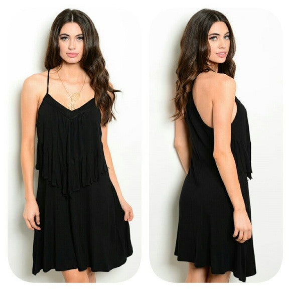 Sexy little black dress with fringe design on top