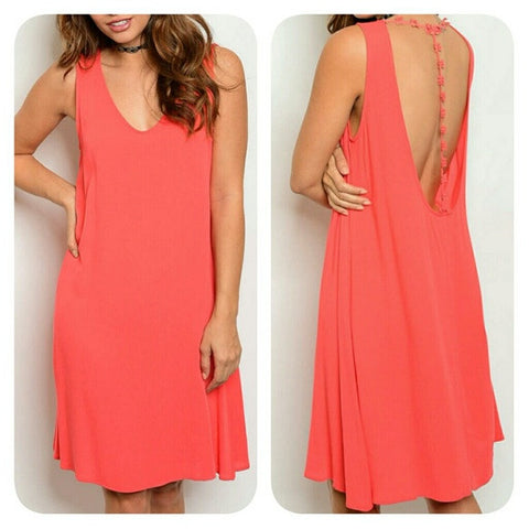Coral Scoop Neck Sleeveless Lightweight Tunic Dress With Lace Detailed Back
