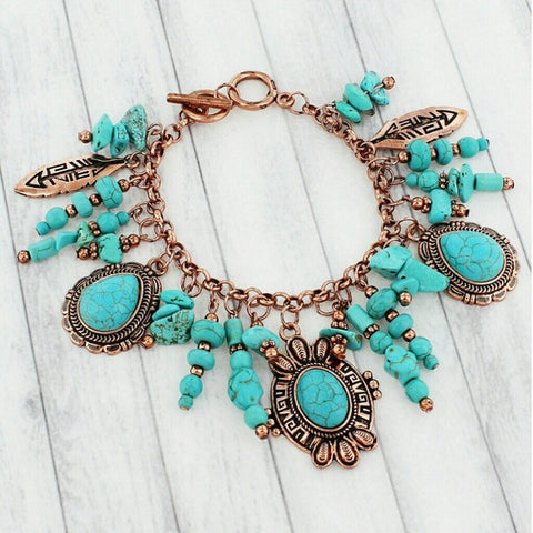 BURNISHED COPPERTONE AND TURQUOISE STONE NATIVE AMERICAN CHARM TOGGLE BRACELET