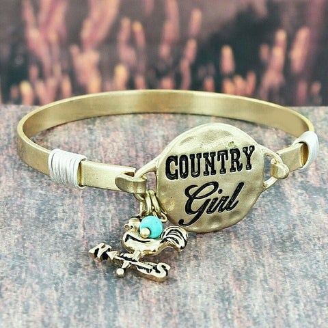 Gold tone Country Girl bangle bracelet with rooster charm