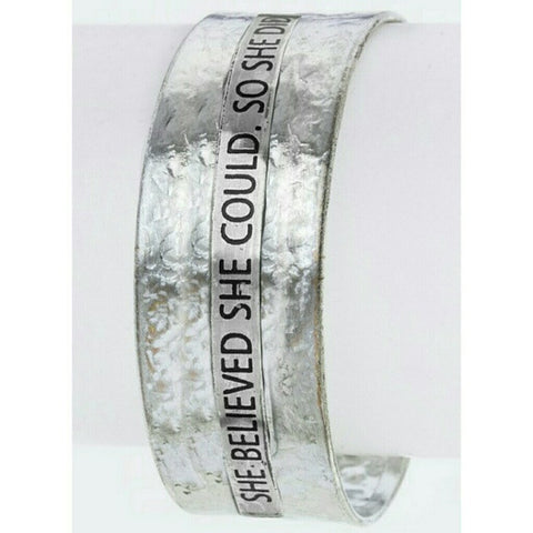 She Believed She Could So She Did Silver tone Bracelet