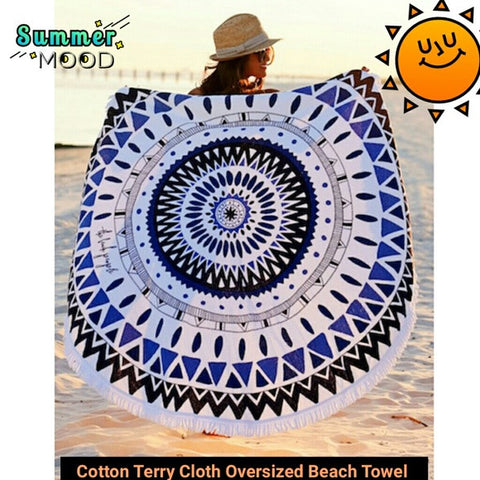 Oversized Terry Cloth Aztec print beach towel