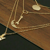 Multilayer gold tone choker chain pendant necklace