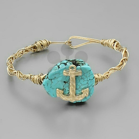 Worn Gold tone Faux Turquoise Stone with Anchor Accent  Bracelet