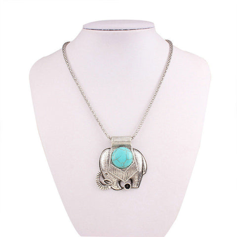Silver Color Turquoise statement elephant necklace - Random Finds Boutique