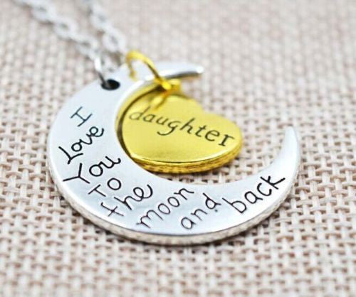 Gold Silver I LOVE YOU TO THE MOON AND BACK Daughter Necklace - Random Finds Boutique