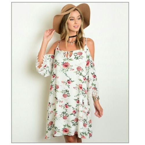 Boho white pink floral dress with lace