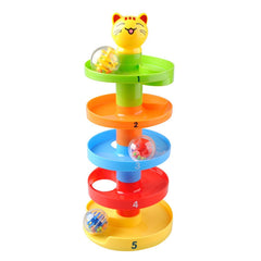 Drop and Roll Swirl Ball Ramp Toy - IttyBittyBees