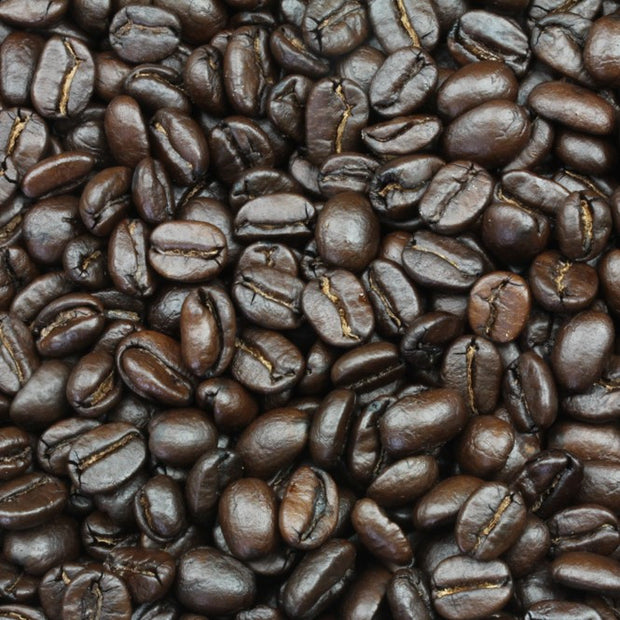 Close up of Italian Roast Coffee Beans from Velasquez Family Coffee.