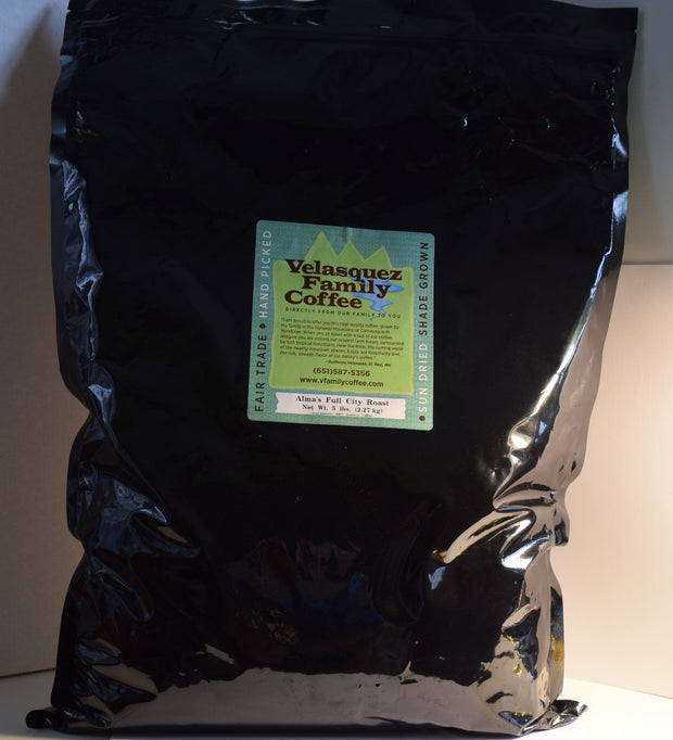 Our 5 pound bag of Alma's Full City Light Roast Coffee is gently roasted to provide a sweet aroma. This option for fundraisers adds up quickly.