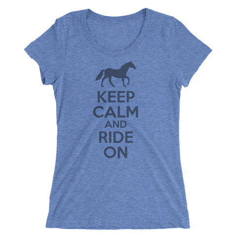 Keep Calm ladies' short sleeve tee – Blue