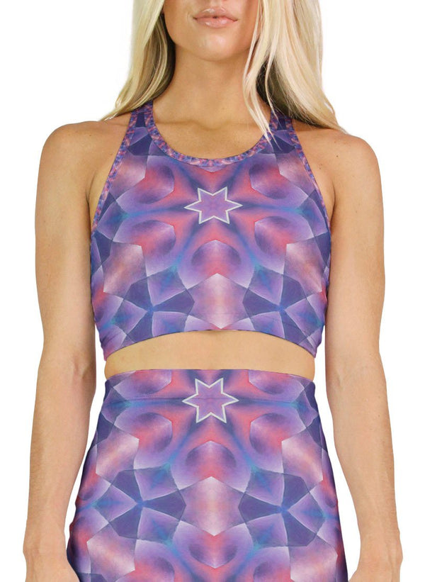 Star Petals Patterned Racerback Crop