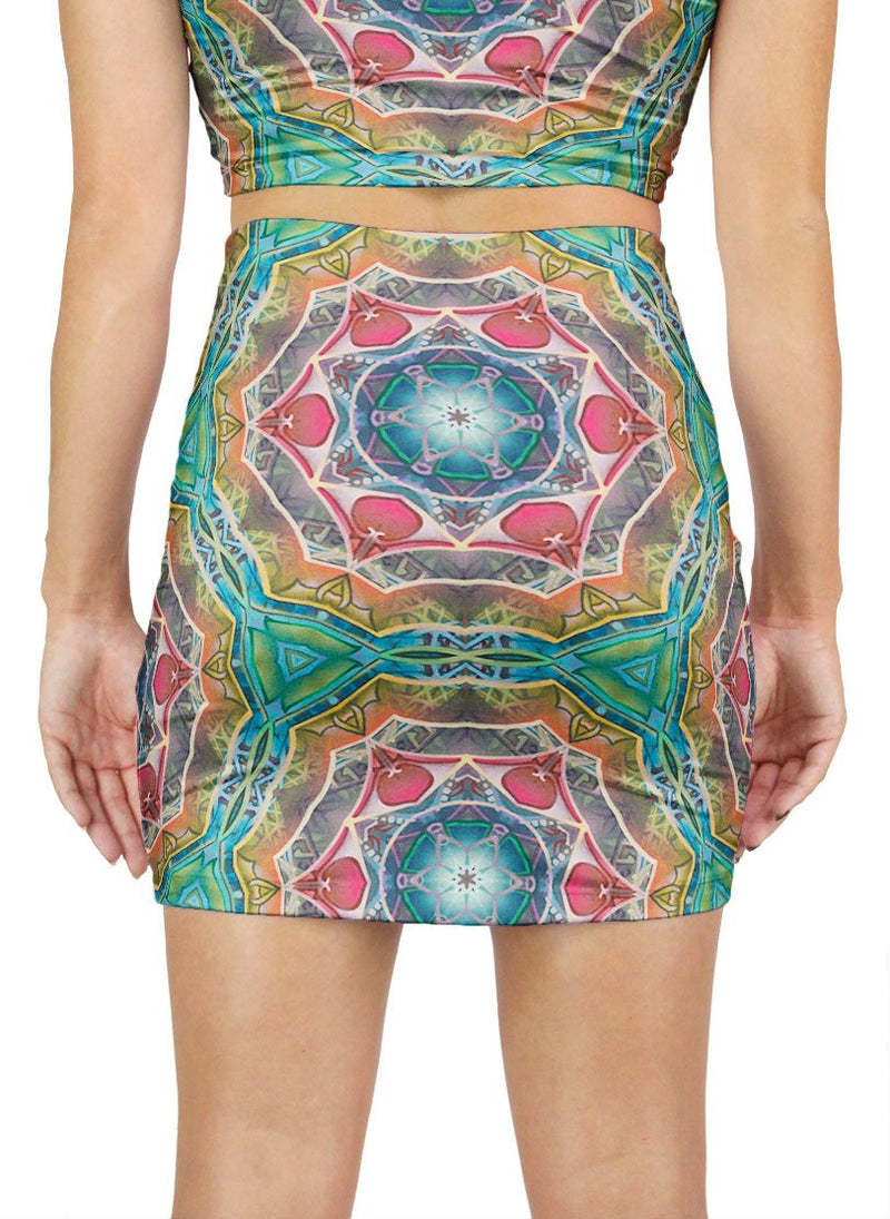 Call to Evolve Patterned Mini Skirt