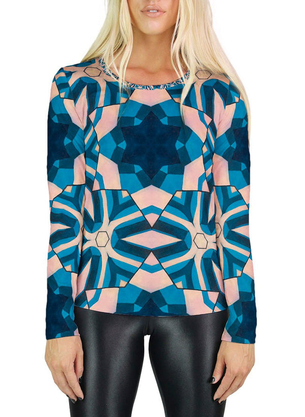 Frosted Fuck-Spokes Patterned Womens Long Sleeve