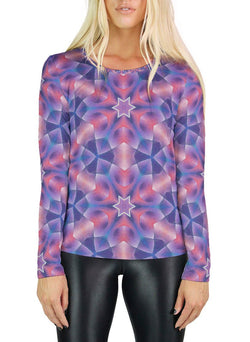 Star Petals Patterned Womens Long Sleeve