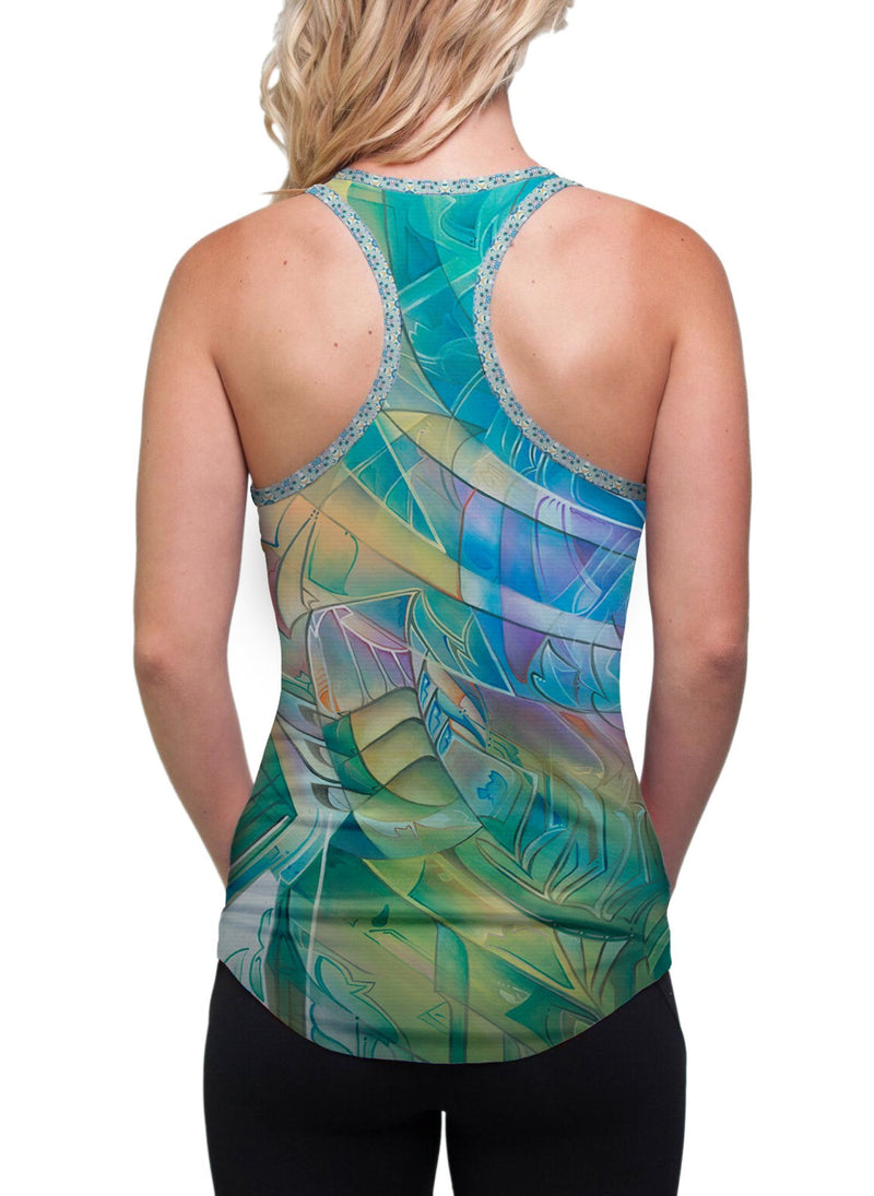 THE SUN SHINES FOR ALL WITHOUT RESERVATION RACERBACK TANK