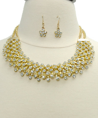 Necklace Sets -  Elegant Crystal Gold Necklace Set - 3just3 - 1