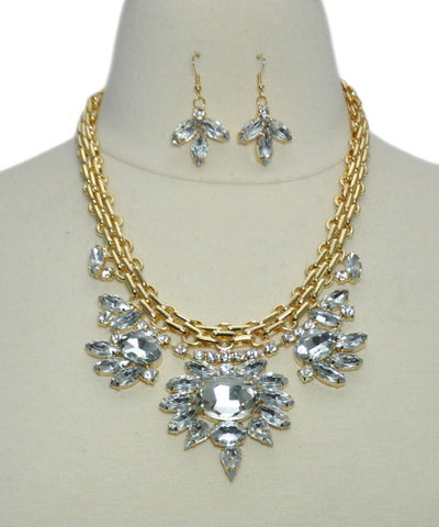 Necklace Sets -  Crystal Gold Chain Necklace Set - 3just3 - 1