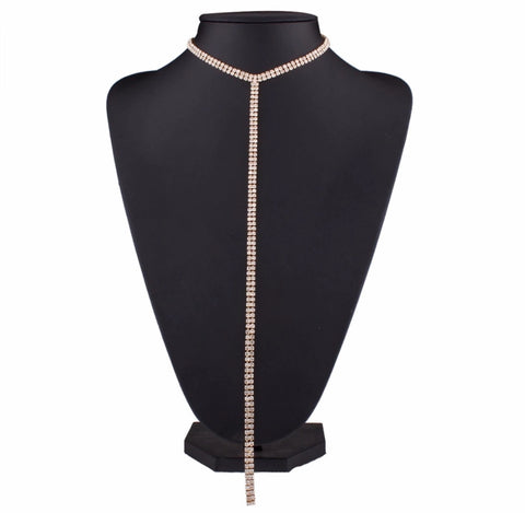 Necklaces - Gold T-Choker of Diamonds