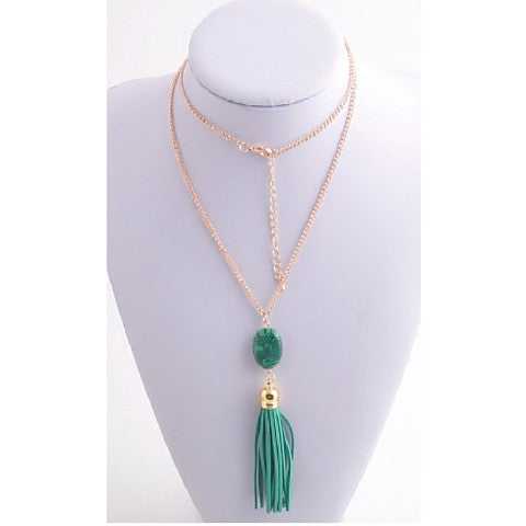 Necklaces -  Acrylic Crystal With Matching Leather Tassel - 3just3 - 1