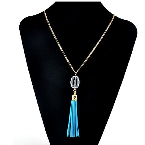 Necklaces -  Acrylic Crystal Leather Tassel - 3just3 - 1