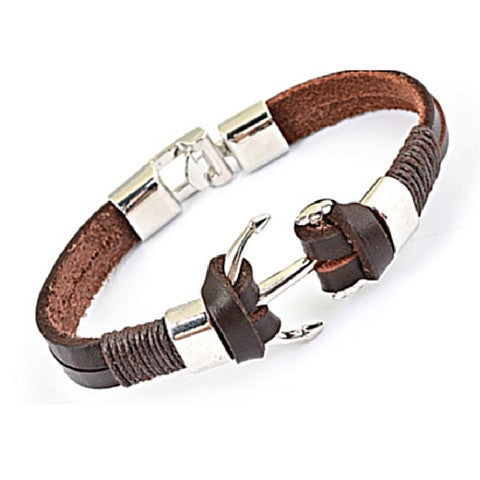 Men Bracelet - Stainless Steel Anchor on Cow Leather Bracelet - 3just3