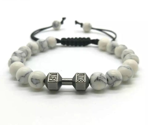 Men Bracelet - White Beaded Life Fit Bracelet